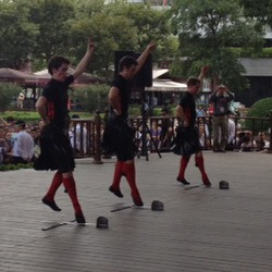 "Boys performing ""Y Chromosome"" dance on main stage"