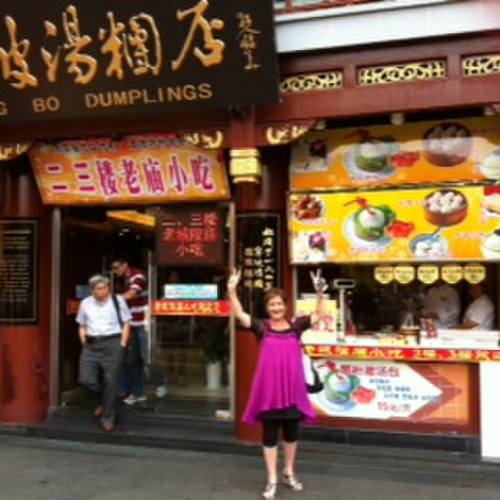 Robyn outside a famous Dumpling House