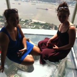 Rachel & Lana up Pearl Tower