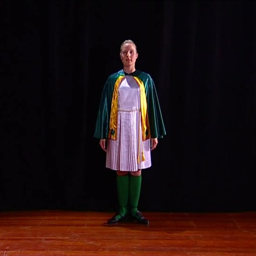 Girls Irish Jig uniform with Gold Cape